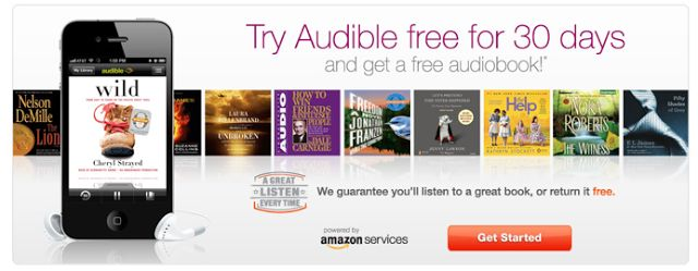 Audible:  FREE 30-Day Trial = FREE Audiobook! 150,000 Titles! (Wizard of Oz, Hunger Games, Fifty Shades of Grey, The Hobbit + Many More!