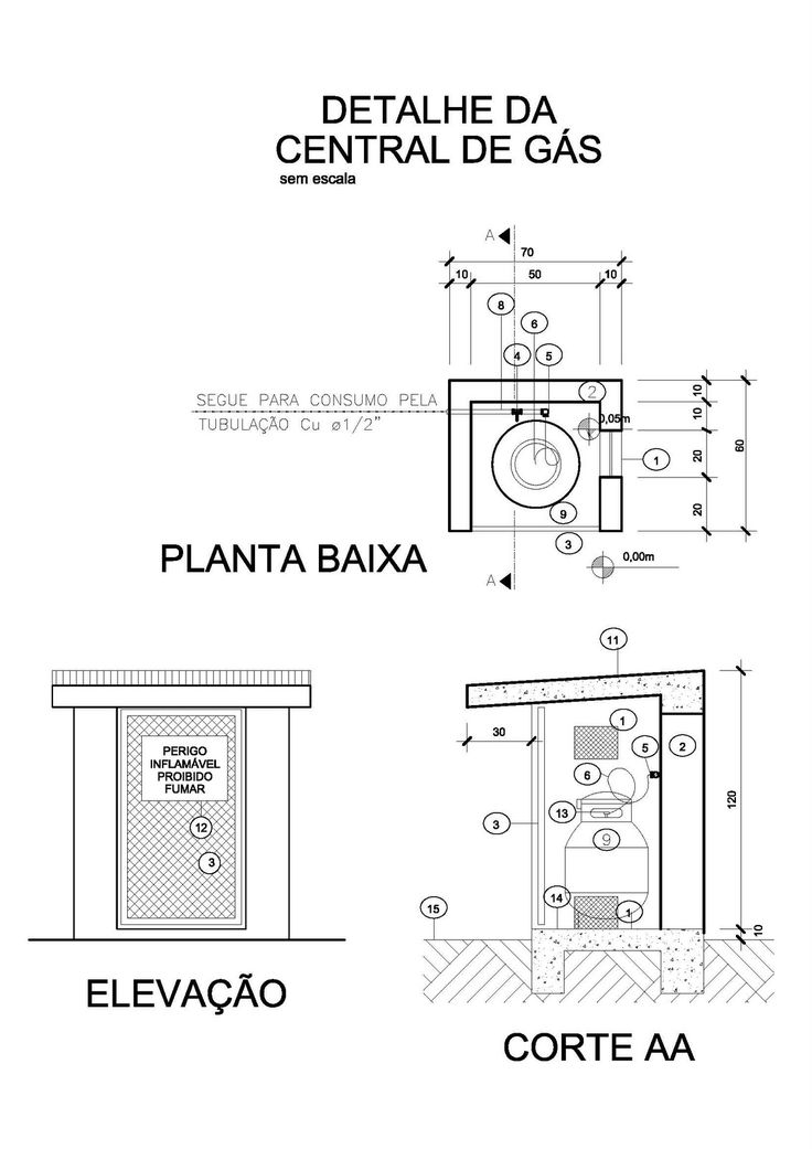 Projeto Arquitetônico: Centrais de Gás