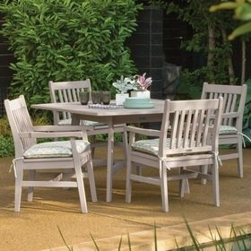 Oxford Garden Wexford Shorea Wood 5 Piece Square Patio Dining Set   Leave  Those Stackable Plastic Chairs Piled Up In Front Of The Store Where They  Belong, ...