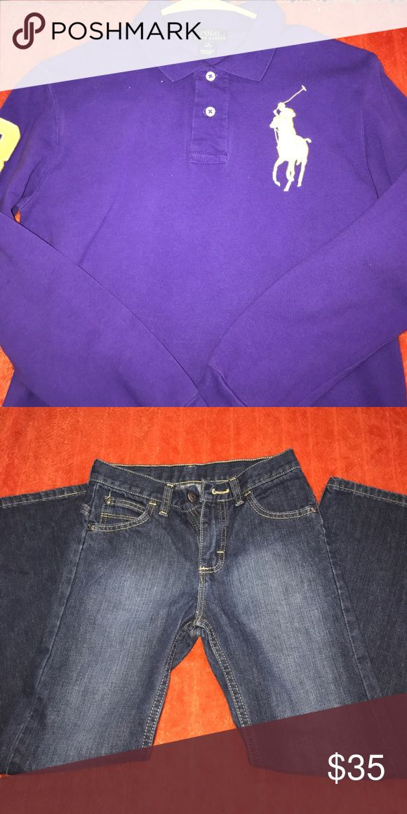 Boys bundle Purple and gold polo shirt size 10/12 from Macy's. Boys jeans size 10R. Both gently used. Smoke free home. Ready to ship. Perfect picture day outfit. Polo by Ralph Lauren Other
