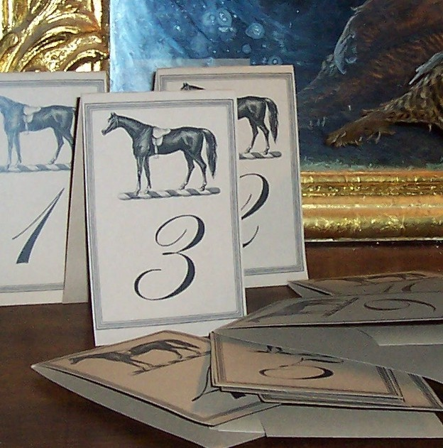 Wedding Table Numbers Equestrian Horse on Kraft Card Stock Set of 12, $18