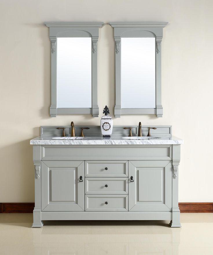 Brookfield 60 Double Sink Bathroom Vanity Cabinet Urban Gray Finish Carrara White Marble