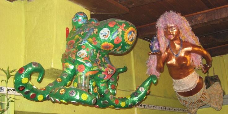 sirène et poulpe en papier mâché (blog les aventures de la mère poulpe)