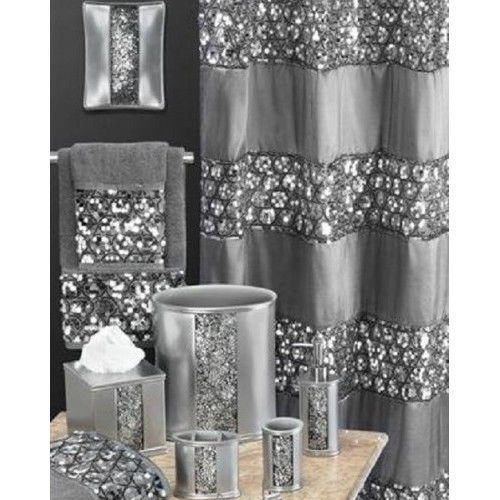Silver gray shower curtains shiny glitter bath sequined for Silver bathroom set