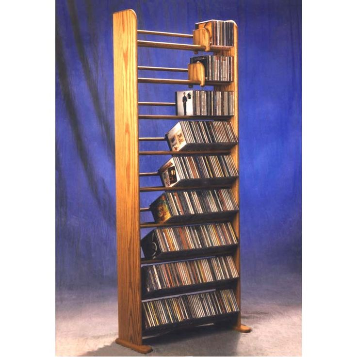 View a larger image of the Wood Shed Solid Oak Dowel CD Rack TWS-901.