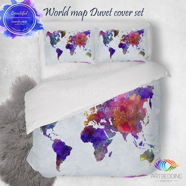 Mejores 33 imgenes de wanderlust watercolor abstract boho world map watercolor world map bedding boho world map duvet cover set watercolor map comforter set gumiabroncs Gallery