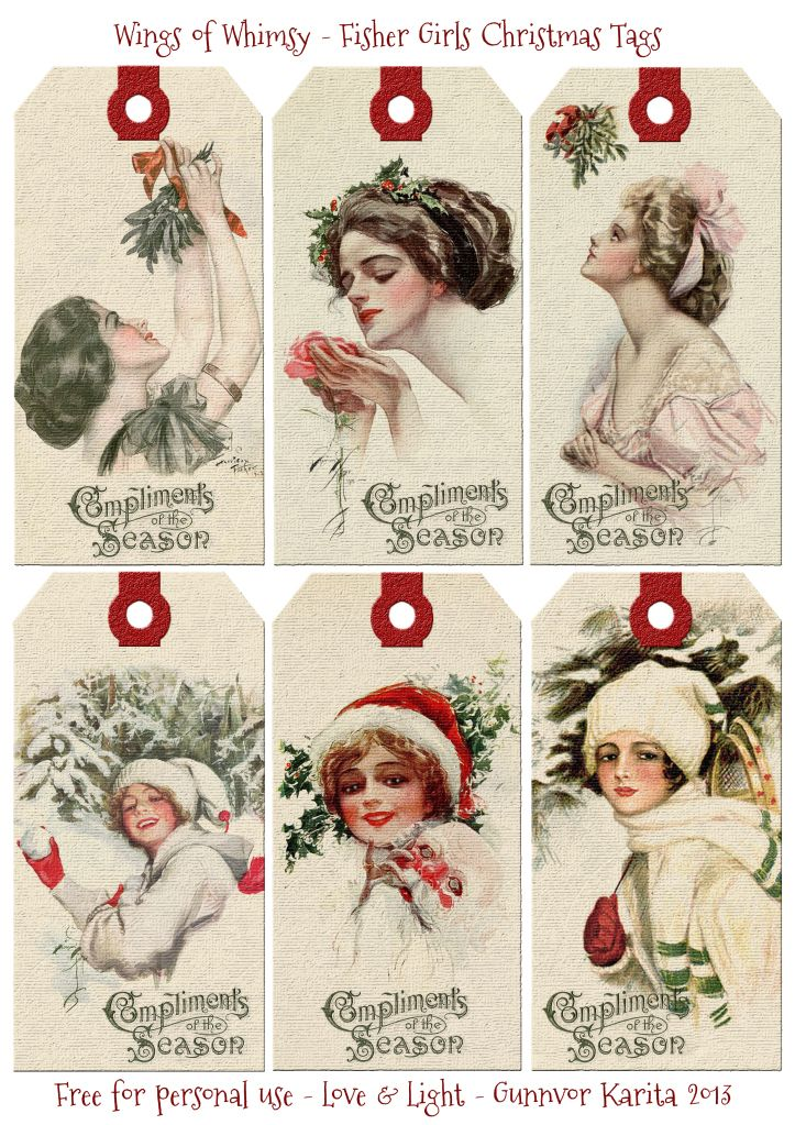 Fisher Girls Christmas Tags - free for personal use.
