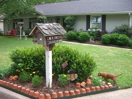 Mailbox Island Edged In Terracotta Flower Pots One
