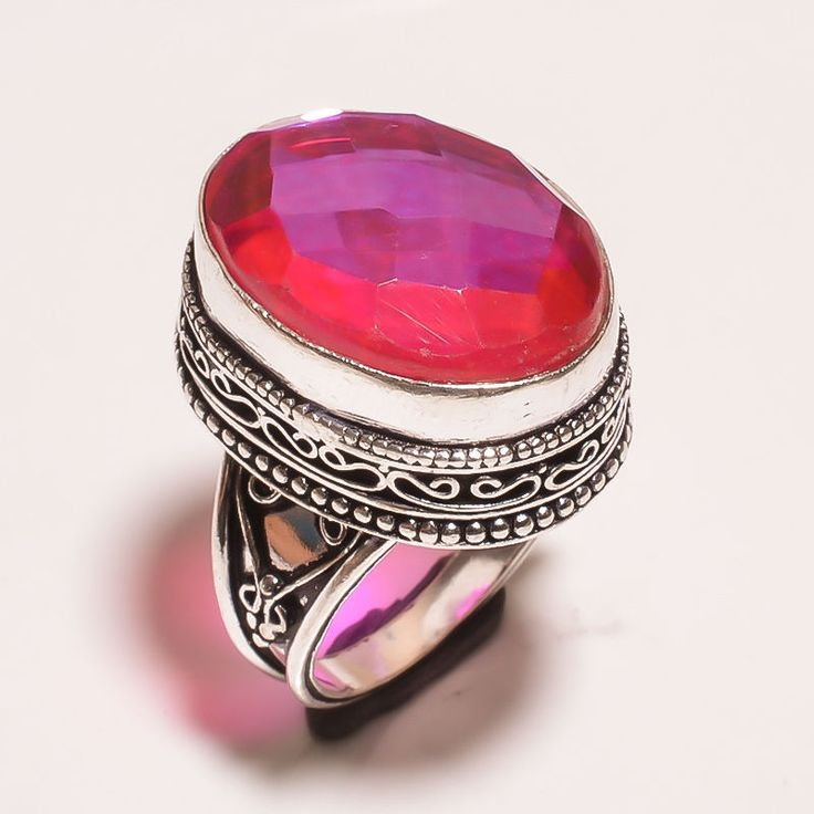 FACETED MYSTIC TOPAZ QUARTZ .925 SILVER CARVING JEWELRY RING SIZE 7.75 (JA638) #Handmade