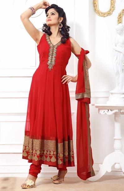 USD 147.85 Red Resham Work Net Long Anarkali Salwar Suit 31126