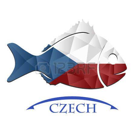 Logotipo de pescado hecho de la bandera de República Checa.