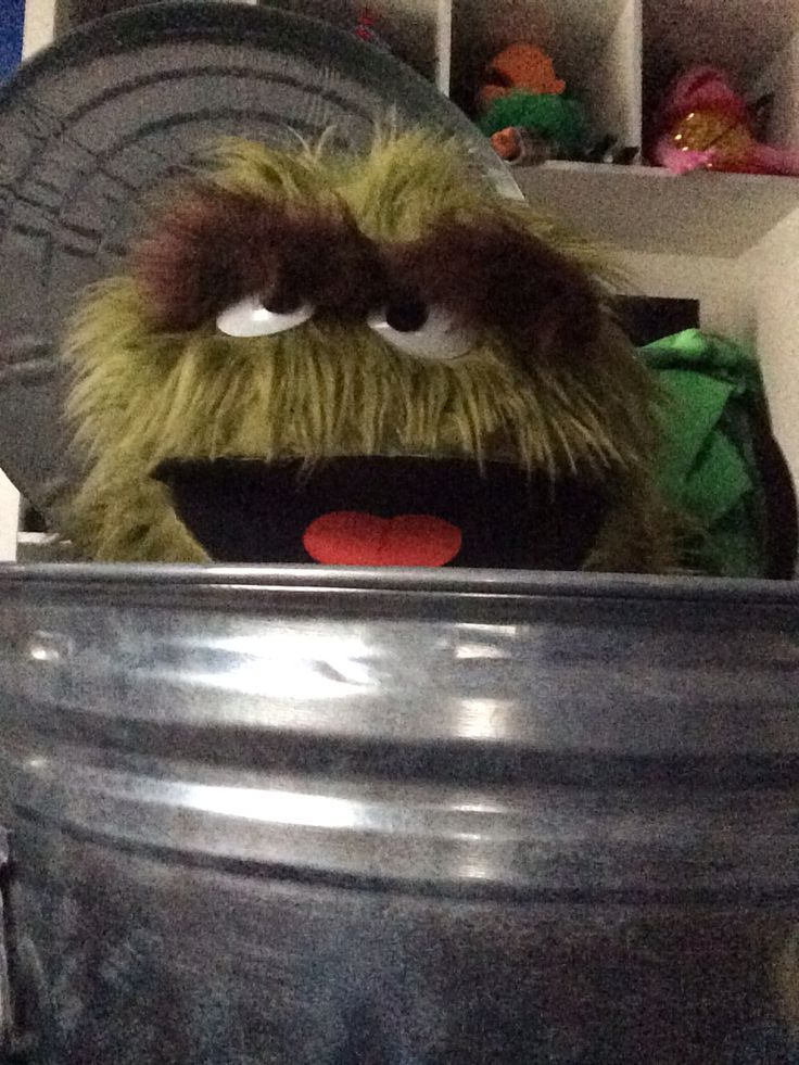 My Oscar the Grouch puppet replica in his humble abode!