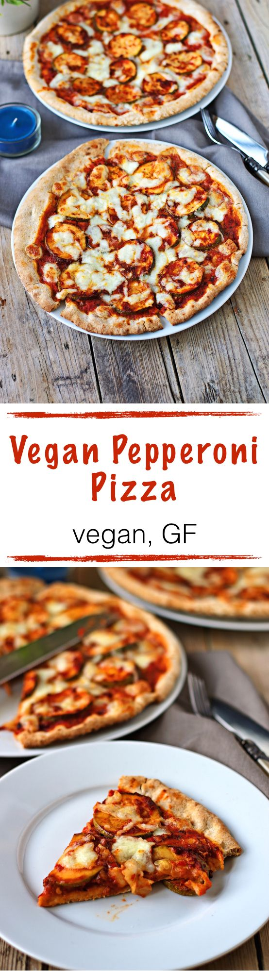 "The wait is over. Here is the runner-up of last weekend's poll: A vegan and gluten free Pepperoni Pizza. It's not-so-secret trick is making spicy marinated zucchini slices - ""zucchironi"" ;) It's really easy to make and your tastebuds will love it."