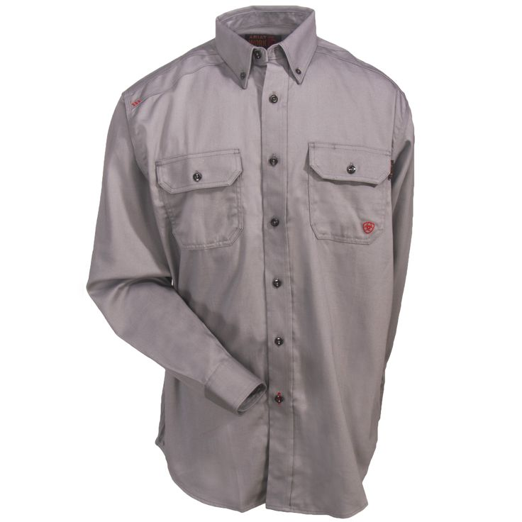 Ariat Work FR FR Solid Silver Fox Men's 10012253 Long-Sleeve Twill Shirt