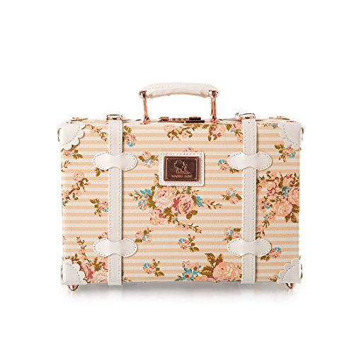 13 Inch Pu Leather Small Suitcase Floral Decorative Box with Straps for Women