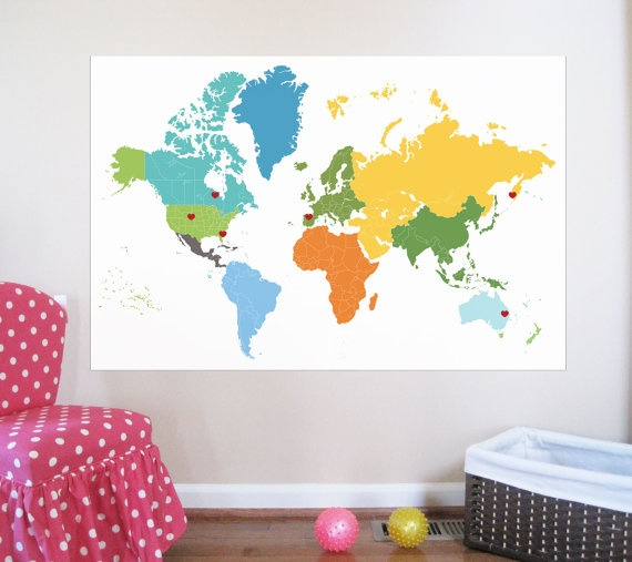 Custom listing World Map Decal with hearts and dots by UrbanTickle, $59.00
