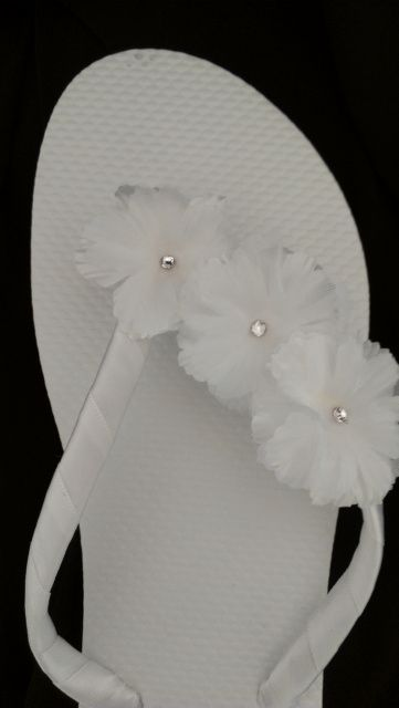 White Hibiscus Wedding Bridal Flip Flops