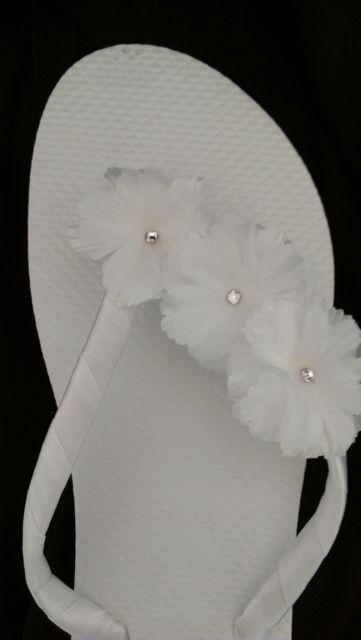 White Hibiscus Wedding Bridal Flip Flops