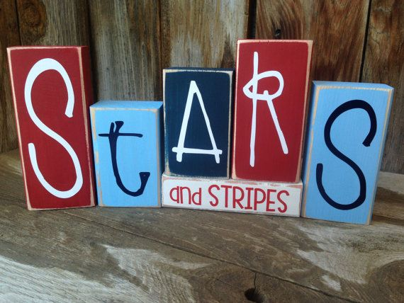 Stars and Stripes 4th of JULY, PATRIOTIC, AMERICAN holiday stacking wood home decor seasonal blocks - with vinyl lettering