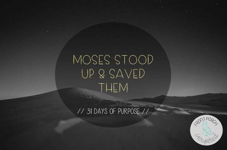 Moses stood up & saved them // Exodus 2:17  Everyday moments lived with intentions on God's glory always result in sacred purpose.