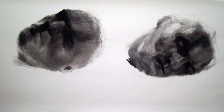 heads, charcoal on paper, 70in x 60in., Lorene Taurerewa