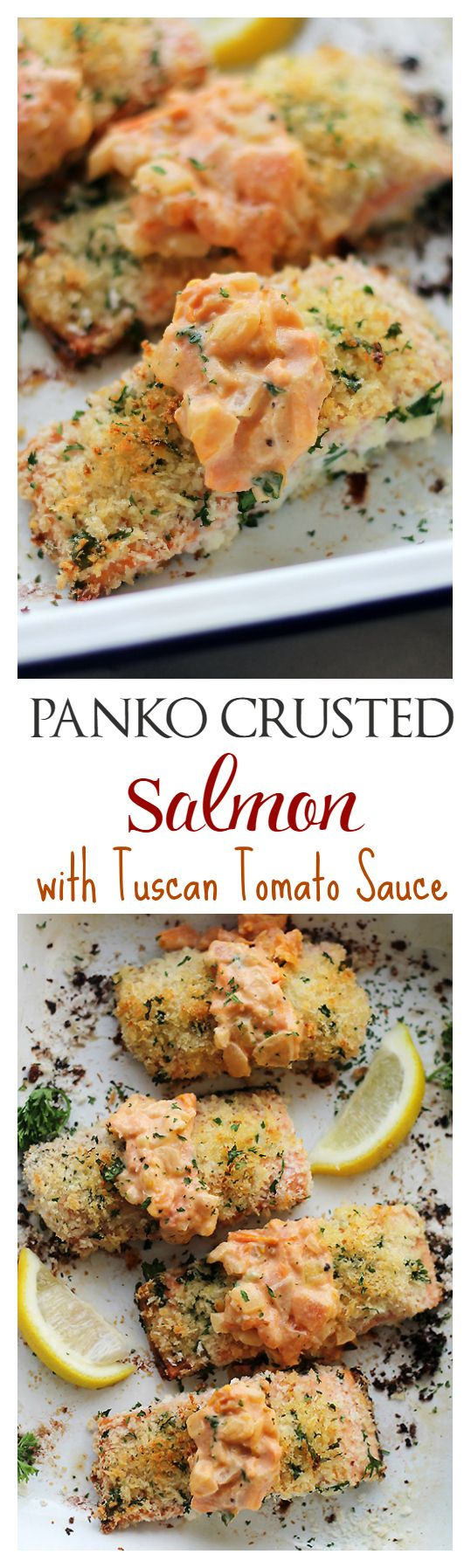 Panko-Crusted Salmon with Tuscan Tomato Sauce - Baked Salmon Fillets breaded with panko crumbs and served with the most luxurious, easy to make Tuscan Tomato Sauce. This stuff is incredible! Get the recipe on diethood.com
