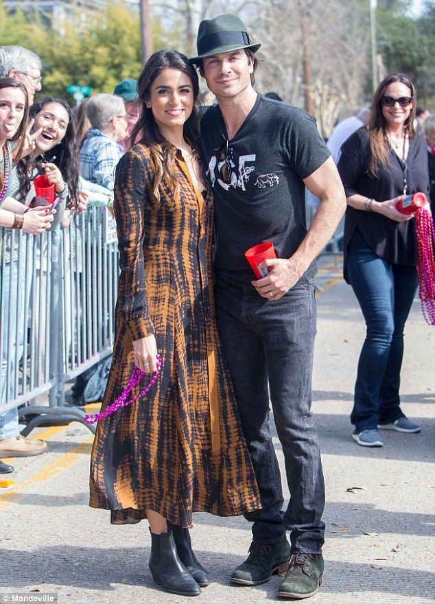 Former flame: She previously dated her Vampire Diaries co-star,Ian Somerhalder, who is now married to Nikki Reid, as the couple were pictured together in New Orleans on Sunday