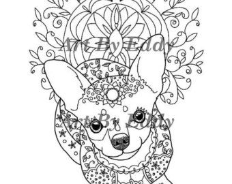 This Coloring Page Consists Of 1 Hand Drawn Image A Beautiful Chihuahua For You To