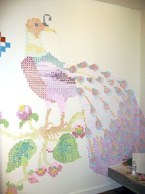 232 best images about organizing decorating on pinterest for Cross stitch wall mural
