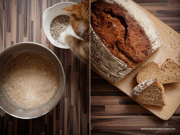 Chleb pszenny razowy ze słonecznikiem, na piwie Guinness | Karo in the Kitchen