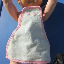 Dy-Dee Plastic Apron Bib Tiny Tears Embroidered Flowers Cloth Front Vintage