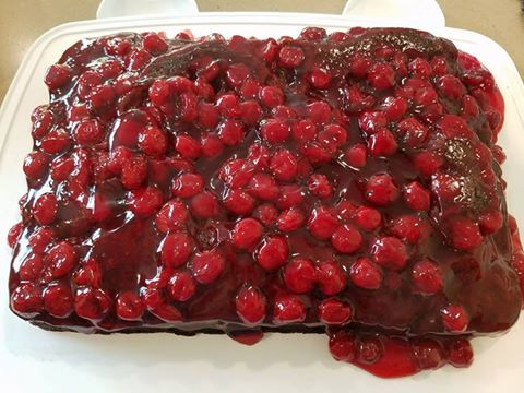 Easy Chocolate Cherry Sheet Cake INGREDIENTS Cake: 1 box dark choc cake mix 1 can cherry pie mix 2 eggs 1 tsp almond extract Frosting: 1 cup sugar ⅓ cup cocoa ¼ cup milk ⅛ salt 1 stick butter 1tsp almond extract   Preheat oven to 350. In a mixing bowl, mix cake mix, eggs, oil, milk, and almond extract until well blended. Mix in maraschino cherries and juice. In a greased and floured 9x13 baking dish, pour batter. Bake 30 to 35 min. In the last 5 minutes of baking cake, begin to make…