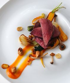 Alan Murchison uses cobnuts as a garnish in this glorious wood pigeon recipe.