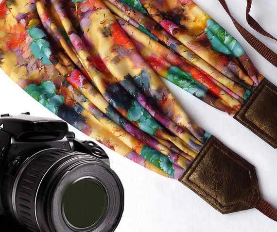 Flowers camera strap. DSLR / SLR Scarf Camera Strap. Camera accessories. Photo accessories. Colorful camera strap for Canon, Nikon, Fuji & other cameras. Great gift!  You can find here other camera straps: https://www.etsy.com/shop/InTePro  This adorable scarf camera strap is a stylish and comfortable way to personalize your camera.  Add charm and personality to your camera with this adorable camera strap. Stylish camera strap for DSLR / SLR body style cameras with focus on durability…