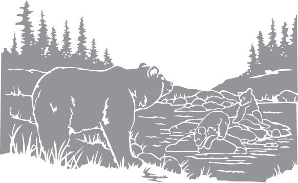 Glass etching stencil of Bear and Cubs around a Pond. In category: North American Mammals, Other Wildlife, Trees, Western