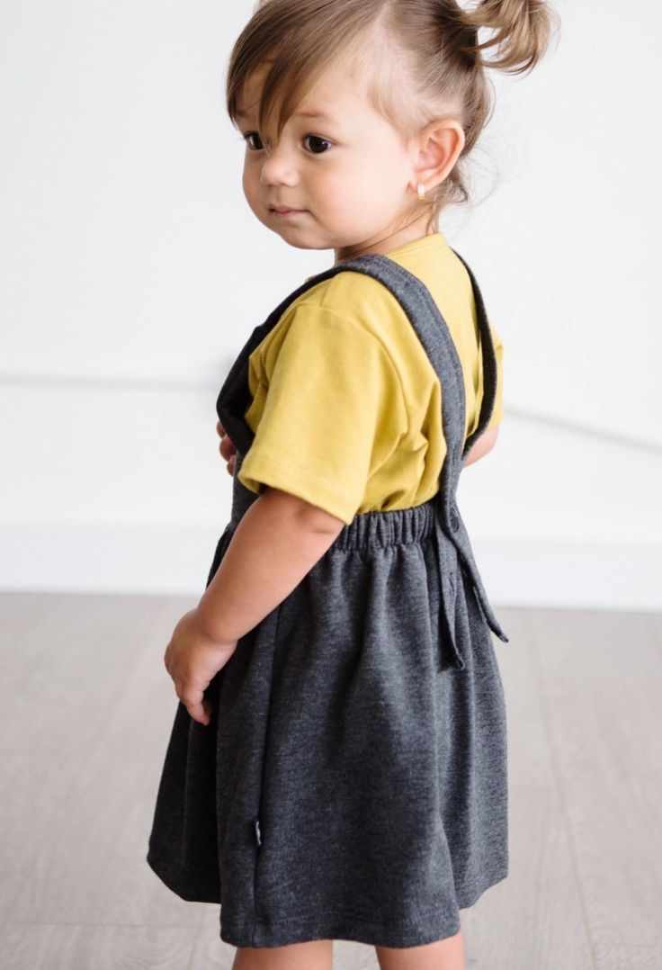 Handmade Super-Soft Charcoal Bamboo Baby Toddler Pinafore Dress | LilHavenCo on Etsy