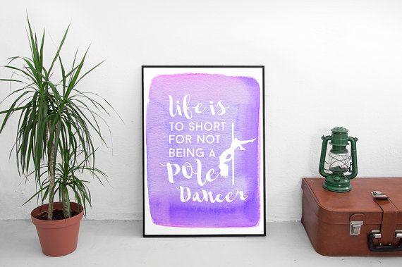 Printable Poster Pole Dance Dancer Motivation Watercolor A4 Violet