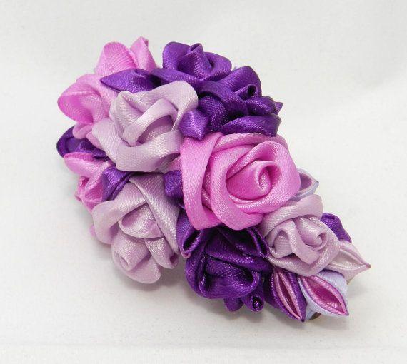 Tsumami Kanzashi Roses Hair Clip by LazuritLouise on Etsy