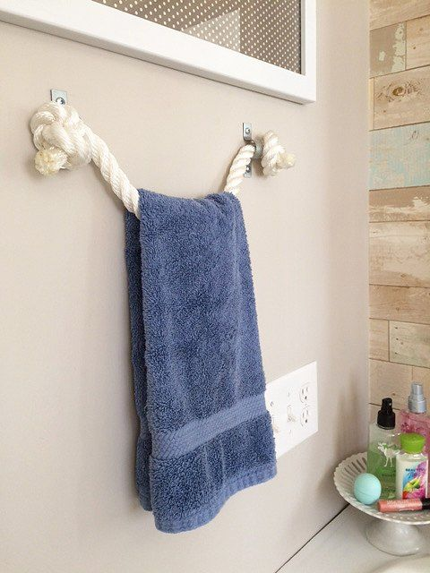 BACK OF DOOR IDEA. diy rope towel holder, bathroom ideas, diy, organizing