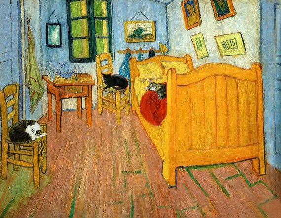 """Cats in Van Gogh's Bedroom, by Deborah Julian (""""It is part of my Great Artists and Cats series which explores how great works of art would look if the artists had my cats--as my cats always want to be in the picture!"""")"""
