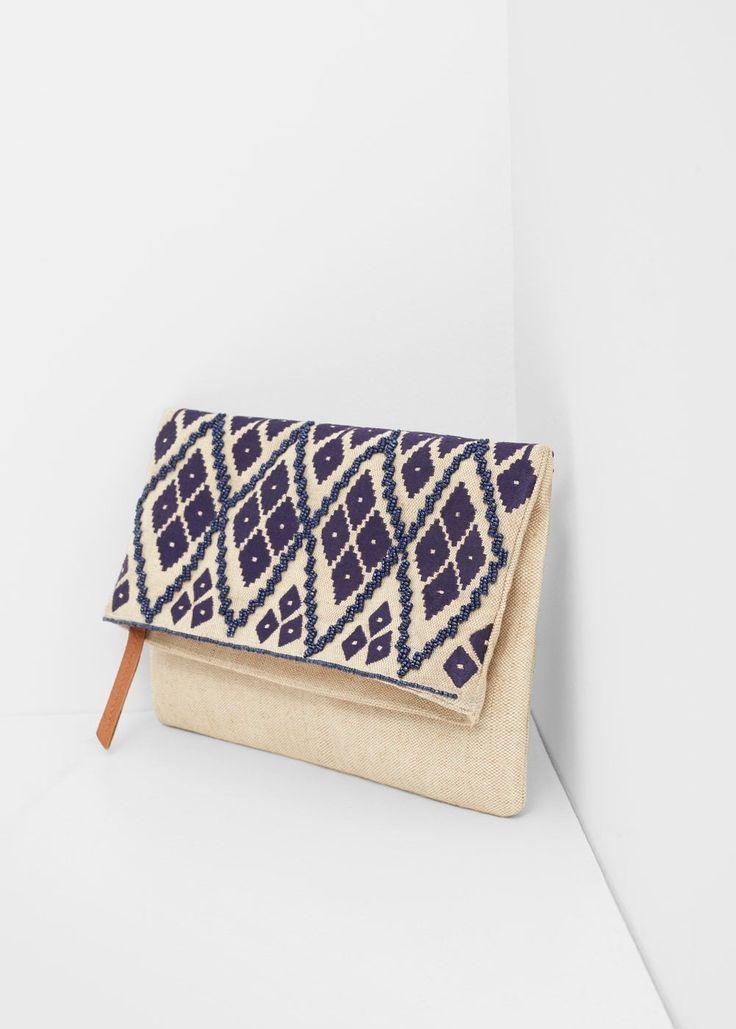 İşlemeli zarf çanta - Çanta Büyük beden | Violeta by MANGO Türkiye