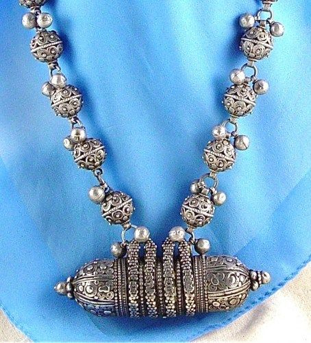 Yemen | Antique Silver Amulet with Bawsani Beads for Bridal Dowry | ca. 1930s | Silver ~ antique Yemen silver beads made from Maria Theresa thalers of the nineteenth century melted down to make the world's finest filigree jewelry.