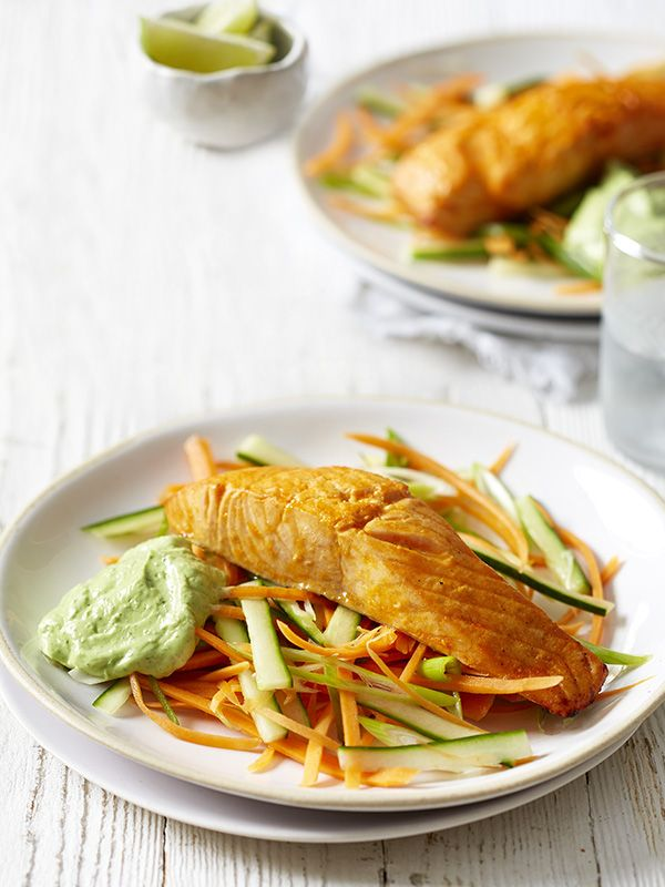 This recipe for sriracha and lime salmon with avocado cream is high protein, low calorie, gluten-free and ready in just 15 minutes. What more could you want?