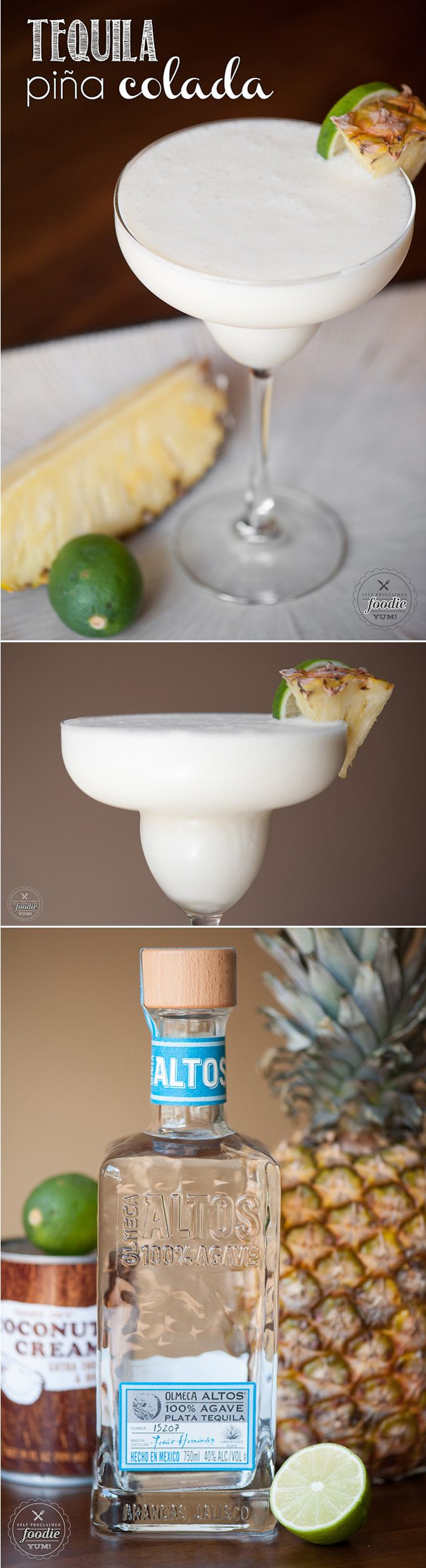 Shake up your traditional drink with this Tequila Pina Colada made with silver tequila, coconut cream, fresh pineapple, plus pineapple and lime juice.