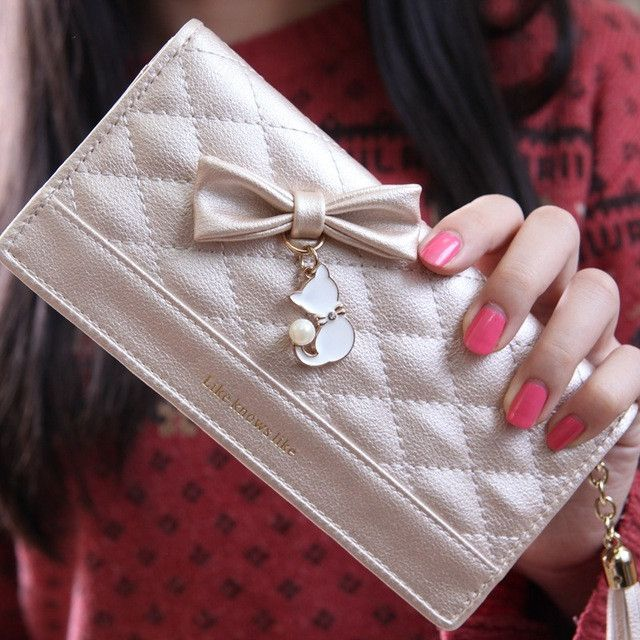 Ladies Leather Wallet Bow Women Wallets And Purses Female Large Zipper Long Vintage High Quality Leather Credit Card Lady