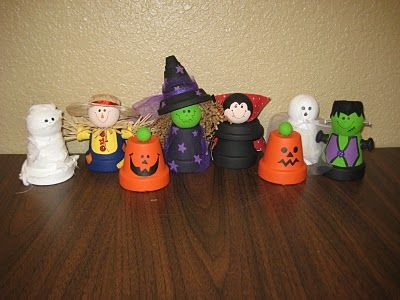 Painting Clay Pots Ideas | Clay Pot Halloween Characters