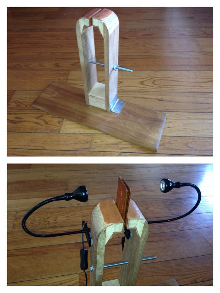 DIY Leathercraft Stitching Pony. Made from poplar, 2x4 blocks, hinge and a few other basic parts available in any local hardware store. Second picture has clip-on Ikea lights.