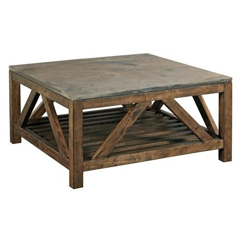 Mason Industrial Rustic Square Cocktail Table With Finished Concrete Top By Kincaid Furniture