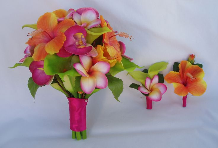 plumeria & calla bouquets | plumeria calla lily orchids citrus colors fill this bridal bouquet ...