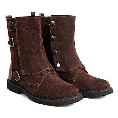 Veri uomini di stile inglese in pelle a metà polpaccio stivali invernali con fibbia - EUR € 72.72